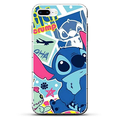 Gogoyang Ultra-Thin Clear Transparent Soft TPU Case Cover for Apple iPhone 7 Plus-Cute Lilo-Stitch 8