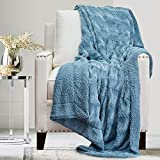 The Connecticut Home Company Soft Fluffy Warm Faux Fur and Sherpa Throw Blanket, Luxury Thick Fuzzy Blankets for Home and Bedroom Décor, Washable Accent Throws for Sofa Beds Couch, 65x50, Slate Blue