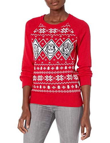 Marvel Junior's Superheroes Christmas Sweater, Red, L
