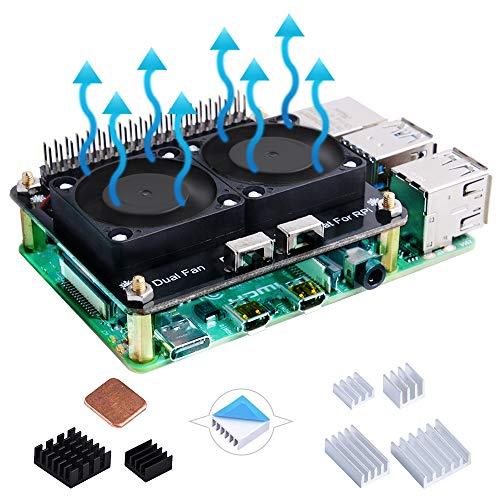 GeeekPi Placa de expansión con cabeza de pin GPIO, interruptor LED controlado y interruptor de ventilador para Raspberry Pi 4 modelo B/Pi 3B+(plus) /3B/2B/B/B/Zero