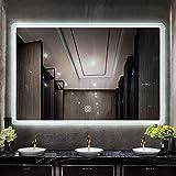 Nfudishpu Espejo de baño Iluminado por LED, Interruptor de Sensor - Borde Esmerilado montado en la Pared, Espejo Decorativo Colgante Horizontal/Vertical para baño y Dormitorio
