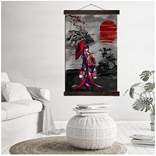 Rode Japanse Kimono meisje moderne Wall Art Print Pop Art Posters Scroll Artwork Canvas schilderij muur foto's voor de woonkamer