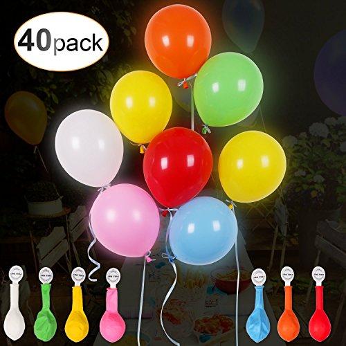 AGPTEK 40 LED knipperende kleurrijke ballonnen met gekleurd lint, 24 uur licht, voor feest, verjaardag, bruiloft, festival, Kerstmis, 7 veranderende kleuren