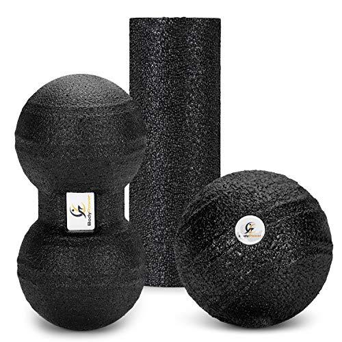 WOMA BodyPower Faszienball & Faszienrolle Set - 3in1 - Faszienrolle Mini, Faszien Ball & Peanut Ball - Ganzkörper Massage & Faszien Set für Mehr Entspannung & Weniger Schmerzen - Medium Schwarz