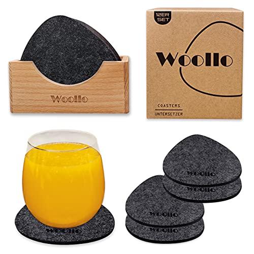 Woollo Posavasos de fieltro grueso triángulo para vasos, juego de 12, posavasos de cristal antideslizantes con caja de almacenamiento de madera, lavables, resistentes al calor, cristal, color gris