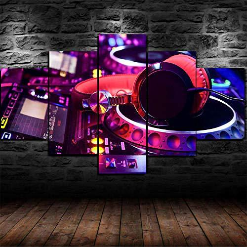 13Tdfc Cuadros Impresos En Lienzo Que Brillan En La Oscuridad 150X80Cm - 5 Piezas -Placa Giratoria De DJ Night Club con Marco Grande- Premium Lienzo De Tejido No Tejido XXL