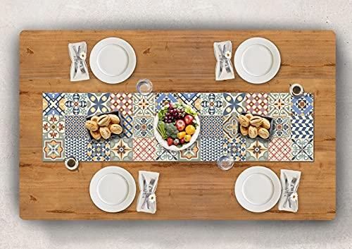 Vilber, CAMINO DE MESA de Vinilo (30,5x120x 0,22 cm), Antimanchas, Antideslizantes y resistentes al calor. Combinables con manteles individuales y alfombras. TOLEDO 01