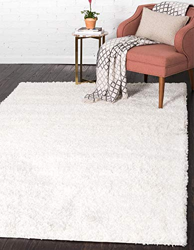 Unique Loom Solo Solid Shag Collection Modern Plush Snow White Area Rug (8' 0 x 10' 0)
