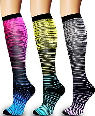 3/5 Pairs Compression Socks Women & Men - Best Medical,Nursing,Hiking,Travel & Flight Socks-Running & Fitness (L/XL)