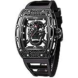 Unique Men's Skull Watches, Rectangle Skeleton Dial Sports Quartz Analog Mens Wrist Watches,Cool Diamond Big Face Skull Watches for Men (Diamond Black)
