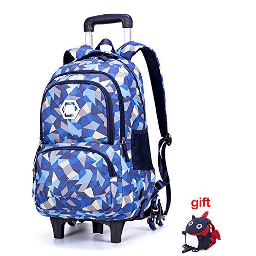 Lycoco Schulranzen mit Rädern, sechsrädriger Treppensteigen 3-5 Grad Kinderschutz Schulranzen Reise Klettern Grat die Belastung zu reduzieren,C