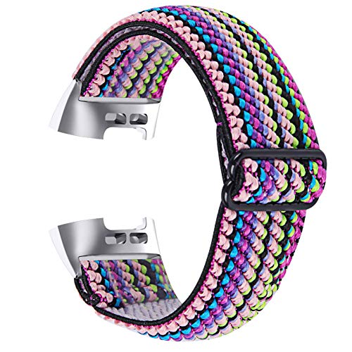 Chofit Correa compatible con correas Fitbit Charge 4, bandas elásticas de nailon tejidas ajustables, correa de repuesto para Fitbit Charge 4/Charge 4 SE/Charge 3 Fitness Tracker (C)