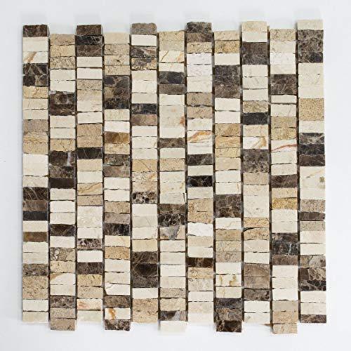 mosaico de red mosaico azulejos varillas Mix Beige Carpet/Crema Marfil/Dark emperador gehont mármol piedra natural cocina pared azulejos Espejo pared Ver Blender