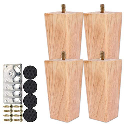 Möbelbeine aus Holz, 4 Stück, höhenverstellbar