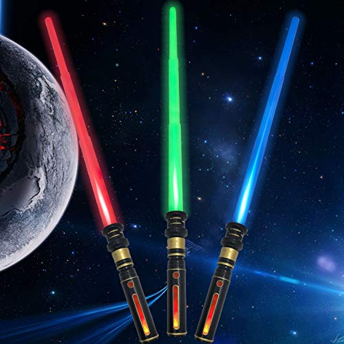 Light Up Saber 3 Colors LED FX Dual Light Swords Set with Sound (Motion Sensitive) and Realistic Handle, Light Sabers for Kids Star Wars, Halloween Party, Xmas Presents (3 Pack)