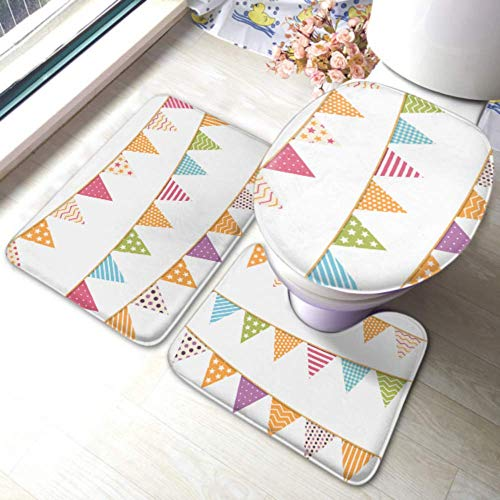 XHYYY Toilet Rug Set Different Colorful Bunting Decoration Invitations Greeting Non-slip Bathroom Rug Mat Sets,toilet Pad Cover Bath Mat And Toilet Lid Cov