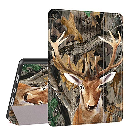 iPad Air 10.5 (3rd Gen) 2019/Pro 10.5 2017 Case, Rossy PU Leather Shock Trifold Stand Folio Smart Cover with Auto Wake/Sleep & Pencil Holder for Apple iPad Air 3rd Gen,Camo Tree Leaves Deer