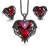 CDE Dark Angel Herz Schwarz Verkupferung Schmuck Set Halskette Kette für Damen mit Rot Embellished...