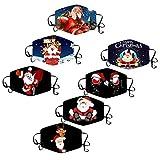 Yowablo 5~10PCS Kinder 𝗚𝗲𝘀𝗶𝗰𝗵𝘁 𝗕𝗮𝗻𝗱𝗮𝗻𝗮𝘀 Gedrucktes 𝗠𝘂𝗻𝗱𝘀𝗰𝗵𝘂𝘁𝘇 𝗔𝘁𝗺𝘂𝗻𝗴𝘀𝗮𝗸𝘁𝗶𝘃 Waschbar für Jungen und Mädchen für Halloween Weihnachten (7PCS,1Z)
