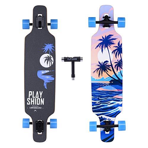 Playshion Longboard 39', Rodamiento de Bolas ABEC-9, Drop-Through Freeride Skateboards Cruiser