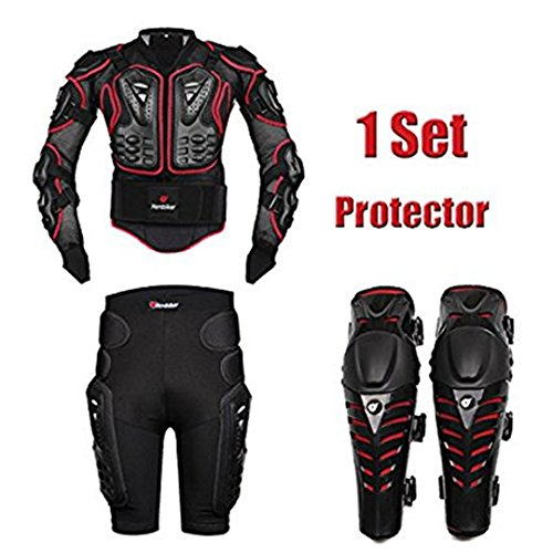 FULUOYIN - Chaqueta Protectora para Motocicleta, para Ciclismo, equitación, Moto, conducción, S-5XL, Hombre, Rojo, Large