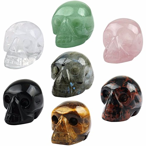 SUNYIK Assorted Stones Carving Skull Statue,Pocket Crystal Figurine Sculpture Decor 1' Pack of 7