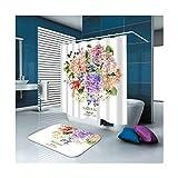 Aienid Rideau De Douche Anti Moisissure Rigolo Bouquet De Fleurs Blanc Rideau De Douche Tapis De Sol Size:180X180CM