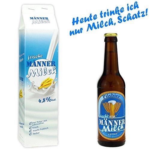 Männermilch Bierflasche 0,33l Pils Biergeschenk Vatertag Scherzartikel