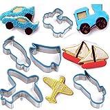 TAMUME Transport Coupe-Biscuits Y Compris l'Avion, le Coupé, la Voiture, le Camion et le Bateau Fabrication de biscuits Ensemble Pour les Enfants (Bleu)