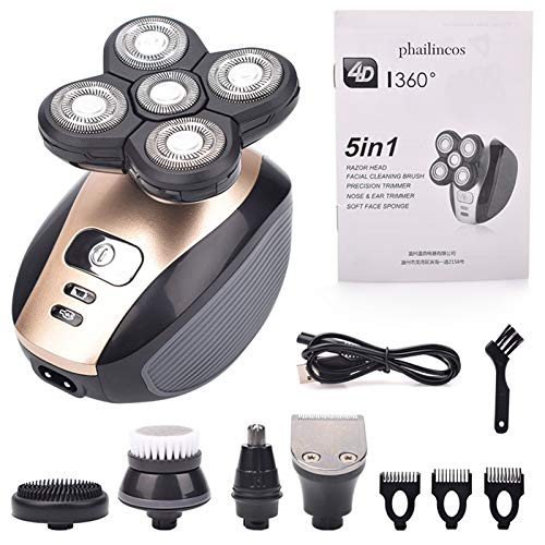 5 en 1 afeitadora eléctrica recargable Cinco cabezas flotantes Maquinillas de afeitar Pelo Clipper Neña Ear Pelo Trimmer Hombres Cepillo de limpieza facial (Color : Package A)