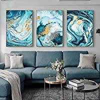 壁の芸術のキャンバスの絵画青い大理石の金色のパターン現代北欧のポスターは居間の装飾のための壁の写真を印刷します30x40cm(12x16in)x3フレームレス