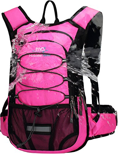 Mubasel Gear Insulated Hydration Backpack Pack with 2L BPA Free Bladder - Keeps Liquid Cool up to 4 Hours – for Running, Hiking, Cycling, Camping (Fushia)