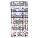 axentia Duschvorhang mit Eulen-Motiv bunt - Badvorhang gemustert für Dusche und Badewanne - Bad-Vorhang wasserabweisend mit 12 Ringen zum Aufhängen - Duschgardine leicht zu pflegen aus Polyester, 180 x 200 cm