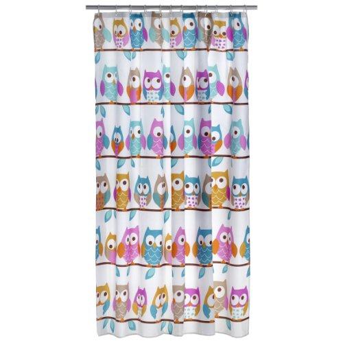 axentia Duschvorhang mit Eulen-Motiv bunt - Badvorhang gemustert für Dusche & Badewanne - Bad-Vorhang wasserabweisend mit 12 Ringen zum Aufhängen - Duschgardine pflegeleicht aus Polyester, 180 x 200 cm