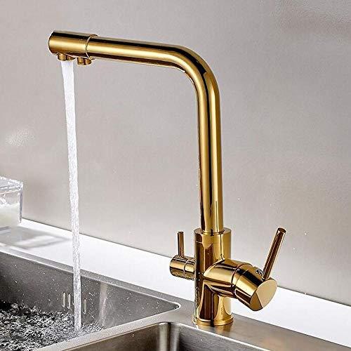 grifo osmosis cobre, grifos cocina, grifo cocina osmosis 2 salidas fria y caliente, grifo osmosis 3 vias, grifos de cocina fregadero, grifo cocina-dorado