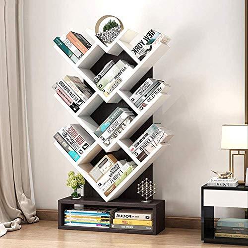 Hqq Holz Bücherregal Baum Lagerung Regal Boden Stehend Bücherregal Organizer für Wohnzimmer - 50 * 13 * 100Cm, B-S, Schwarznuss + Weiß