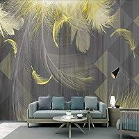 XSJ 壁紙カスタム3D壁画モダンな黒白灰色シンプルな3D幾何学的な黄金の羽の背景の壁の装飾壁画-320X240CM