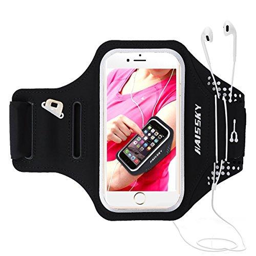 HAISSKY Sport Armband für iPhone XS Max/XS/XR/X/8 Plus/7 Plus,Universell Handyhülle mit Schlüsselhalter Ideal für Laufen Wandern Jogging, Kompatibel mit Samsung Galaxy S8/S8 Plus/S7/S7 Edge bis 6.2