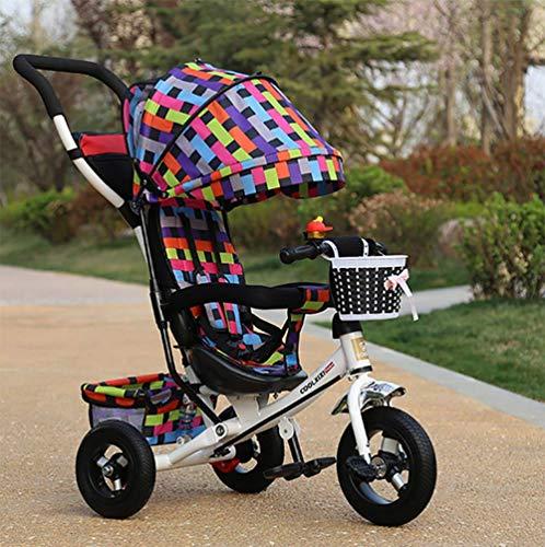 NUBAO Trike Baby Trike Kids Trike para niños con toldo solar, almacenamiento en la espalda y triciclos extraíbles para padres de 1 a 3 años de edad (color C: C)