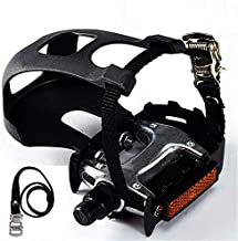 YBEKI Bike Pedals with Toe Clip and Straps, for Exercise Bike, Spin Bike and Outdoor Bicycles, 9/16-Inch Spindle Resin/Alloy Bicycle Pedals, Half Year Warranty