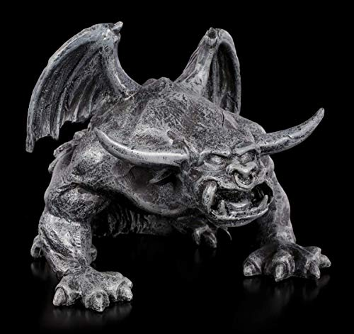 Figuren Shop GmbH Schwarze Gargoyle Gothic-Figur - Teufelskerl | Fantasy Garten-Figur, handbemalt, B 15 cm