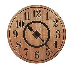 NIKKY HOME 12 Noiseless Antique Farmhouse Wood Round Wall Clock, Burlywood