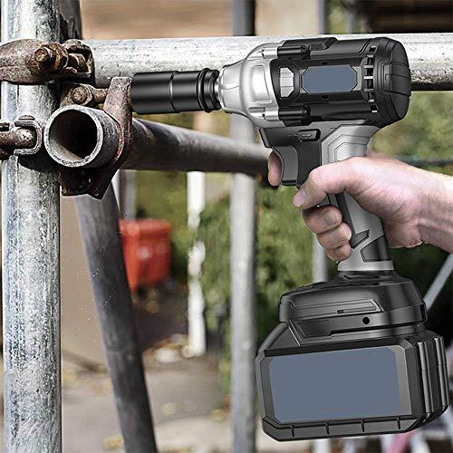 XDXDO Llave De Impacto Inalámbrica De 21V, Llave Eléctrica Portátil Profesional, Equipada con 2 Baterías De Litio Y 14 Accesorios, Par: 580Nm, Velocidad: 4500RPM