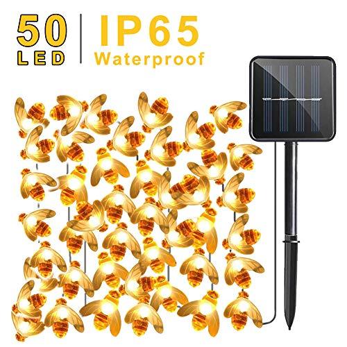 Solar Garden Lights, Upgrade 50 LED Bee, 7M 8 standen String Light, IP65 waterdichte buitenverlichting, zonne-energie verlichting voor thuis, terras, hek, feest, kerst, decoratieve boom (Warm Wit)
