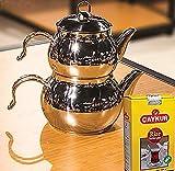 Tetera de acero inoxidable de Caydanlik turco tamaño mini diseñador regalo 500 g té...
