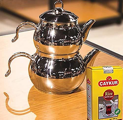 Tetera turca Caydanlik de acero inoxidable con diseño de mini tamaño + regalo de 500 g de té negro turco