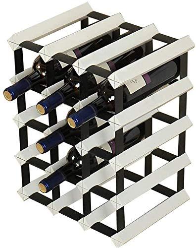 Living Equipment Estantes de vino de madera y metal de acero inoxidable Gabinete de madera natural en la mesa Estante de vino Estante de vino Organizador de botellas de vino Puede contener 12 botel