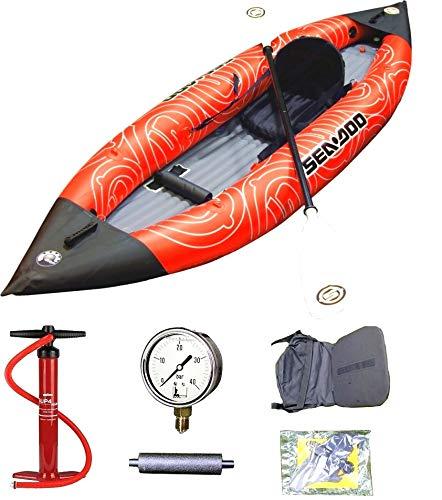 Kayak Gonfiabile Singolo a TRIPLO STRATO DI PVC Sea Doo Monoposto - 300x90 - Portata Kg. 95 con TUTTI gli Accessori - ROBUSTO - NOVITA