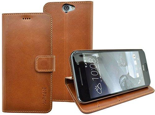 HTC One A9 | Suncase Book-Style (Slim-Fit) Ledertasche Leder Tasche Handytasche Schutzhülle Hülle Hülle (mit Standfunktion & Kartenfach) cognac