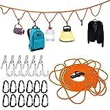 Upkey Cuerda Uso Interior Exterior Cuerda para Tender con 12 Ganchos Ropa Portátil tendedero Camping Accesorios Cuerda de Acampada Línea de Lavado Línea de Ropa para Acampar con 6 Pinzas para la Ropa